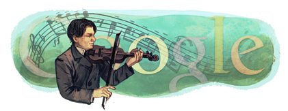 Google Logo: George Enescu's 130th birthday - Romanian composer, violinist.